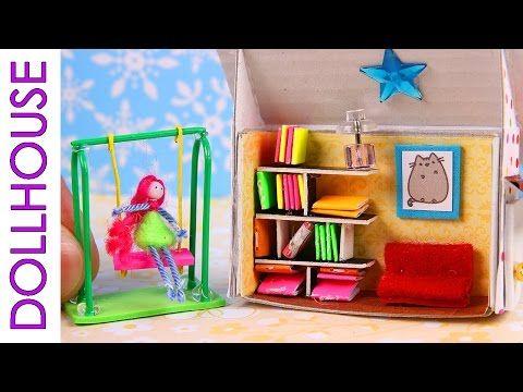 DIY Miniature Dollhouse & Swing - YouTube