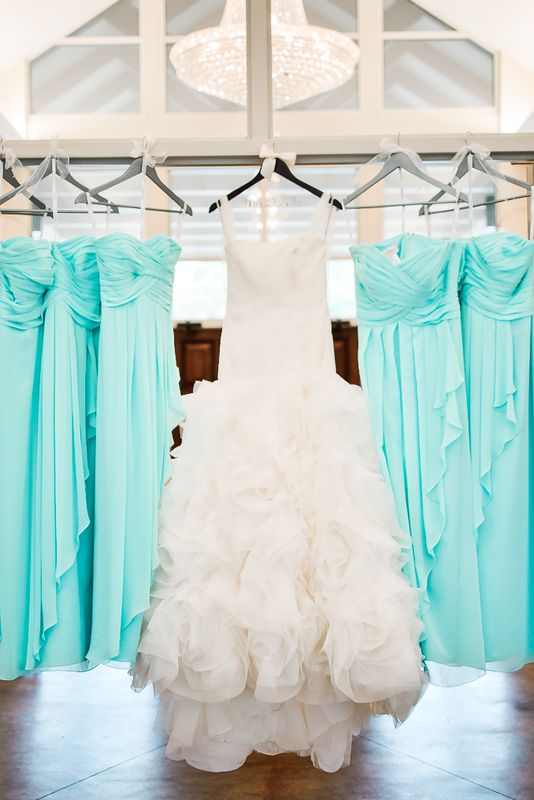 White by Vera Wang wedding gown and Tiffany blue bridesmaid dresses.