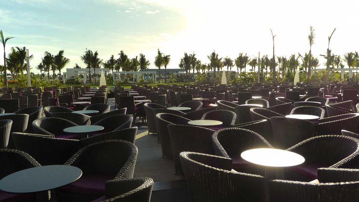 Open air seating at the showroom at Riu Dunamar.