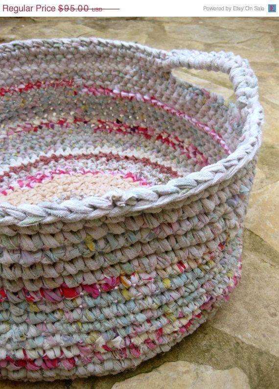 Large Rag Basket Crocheted Rag Basket Large Storage