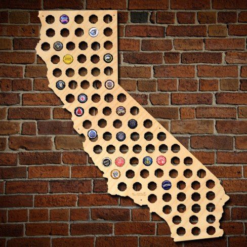 For the ambitious beer lover, this California state beer cap map is exactly what you need to show off all of your local or out of state brewery caps. Simply pop your beer bottle caps into the built in cap slots of the region, and it quickly becomes a beer inspired piece of art AD