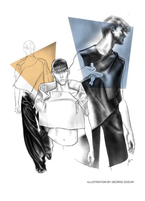 J.W. Anderson S/S 2014 by George Gozum Illustration.Files: J.W. Anderson F/W 2013 & S/S 2014 by George Gozum