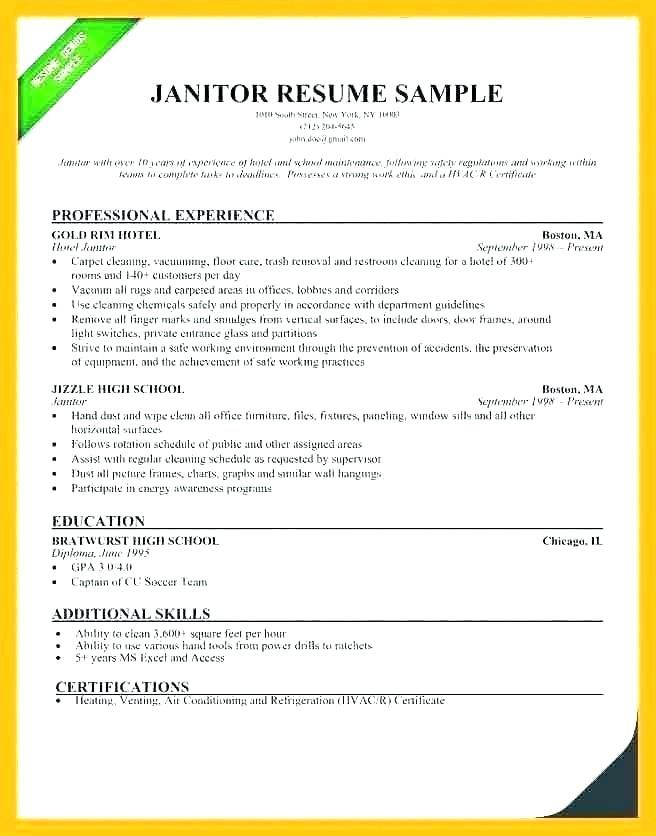 Sample Janitor Resume Custodian Skills