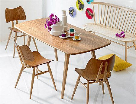 What dining room dreams are made of... (Ercol Windsor plank table, butterfly chairs and love seat)