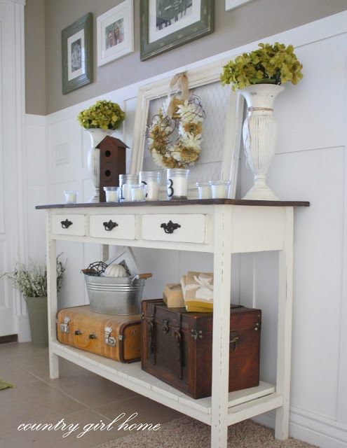 From COUNTRY GIRL HOME Blog Entry Table With Added Bottom Shelf