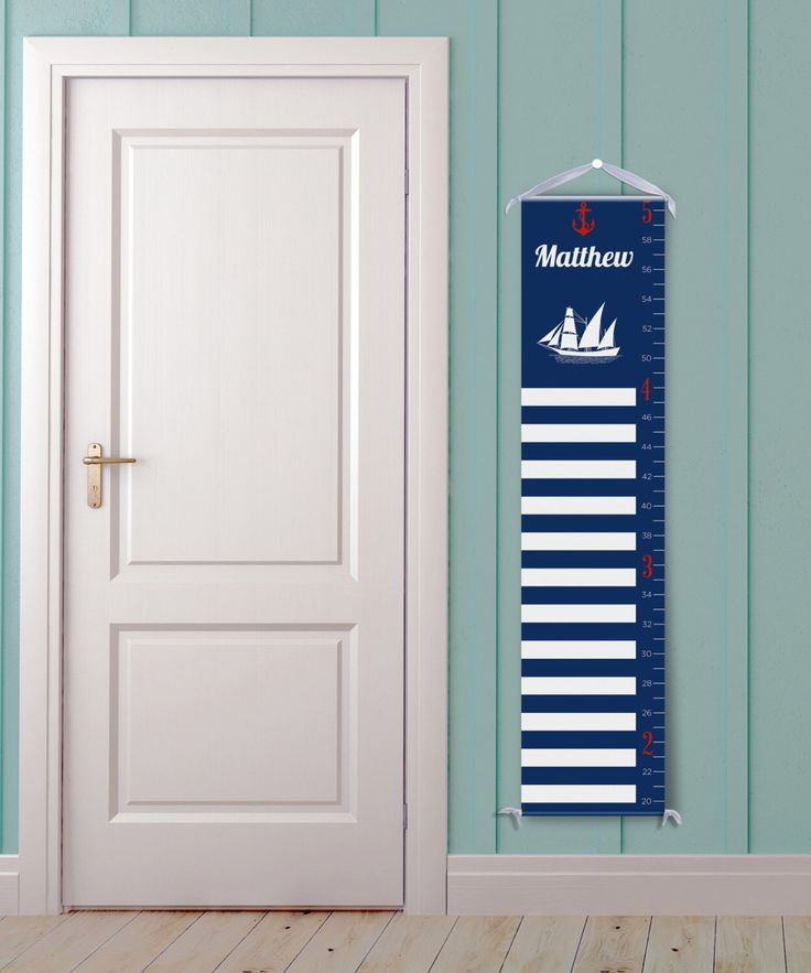 """Personalized Growth Chart """"Nautical Stripe in Navy Blue and White"""" by DaisyPrintCo on Etsy https://www.etsy.com/listing/234932338/personalized-growth-chart-nautical"""
