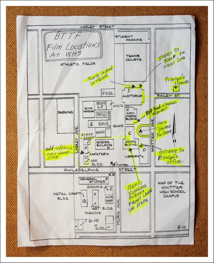Hand Drawn Map Of BTTF Locations At Whittier High