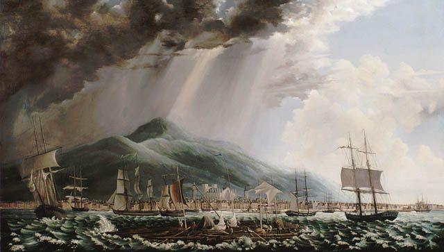 Vue de Montréal à partir du fleuve Saint-Laurent, ca 1840. Mention: Bibliothèque et Archives Canada.
