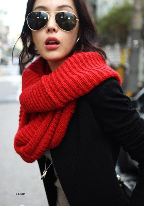 I wanna big fluffy red scarf for colder weather now!