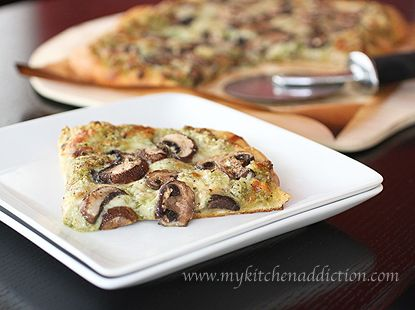 Garlic Scape Pesto and Mushroom Pizza by mykitchenaddiction: For all of that garlic in your CSA box! #Pizza #Garlic_Scrape #MushroomKitchens Addict, Garlic Mushrooms, Mushrooms Pizza, Delicious Treats, Garlic Scapes Pesto, Csa Boxes, Garlic Pesto, Pizza Garlic Scrap, Amazing Cooking