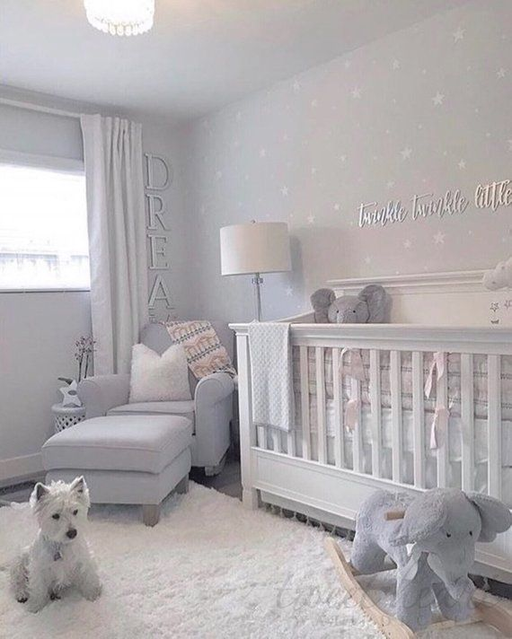 White Star Decals Beautiful Nursery With Grey White Baby Girl Nursery Room Girl Nursery Room Nursery Baby Room