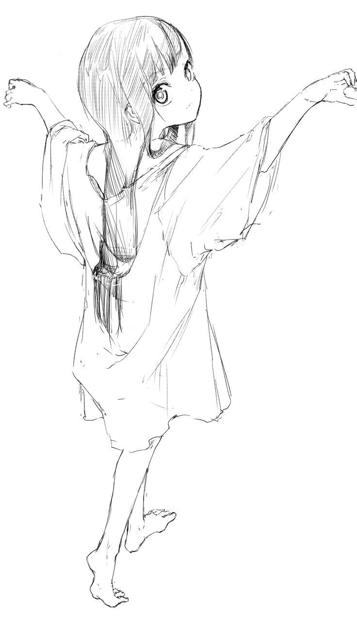 ✮ ANIME ART ✮ anime girl. . .long hair. . .baggy t-shirt. . .big eyes. . .doodle. . .sketch. . .cute. . .moe. . .kawaii
