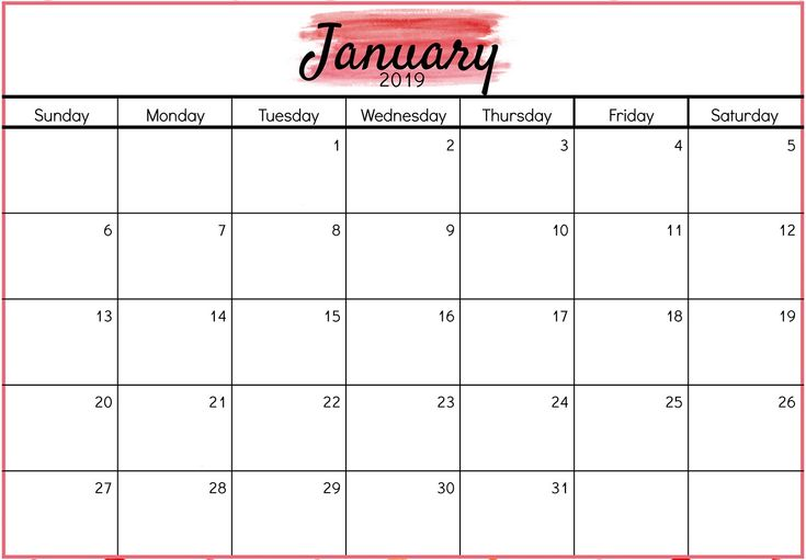Printable January 2019 Calendar Design Free Printable February