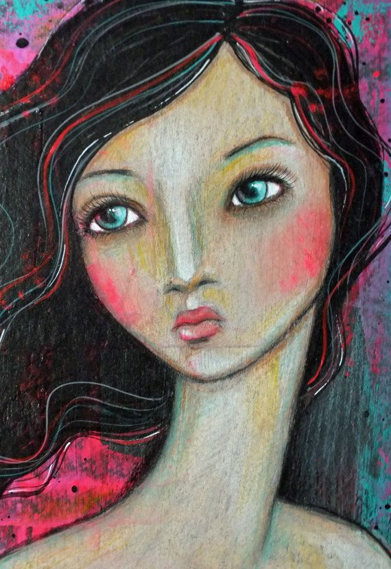 Original OOAK 6 x 9 Mixed Media acrylic colored by Pennystamper