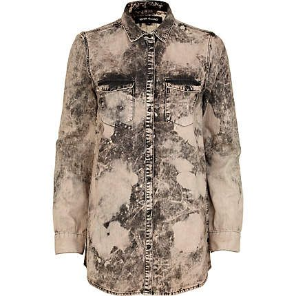 Pink tie dye longline denim shirt - shirts - blouses / shirts - women -