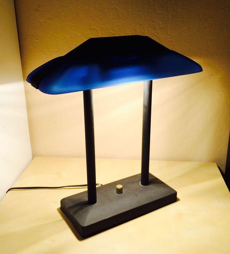 TENSOR B206 BANKERS DESK LAMP **NICE** Blue Shade, Commercial, Dimmer,  Office   Bankers Desk Lamp