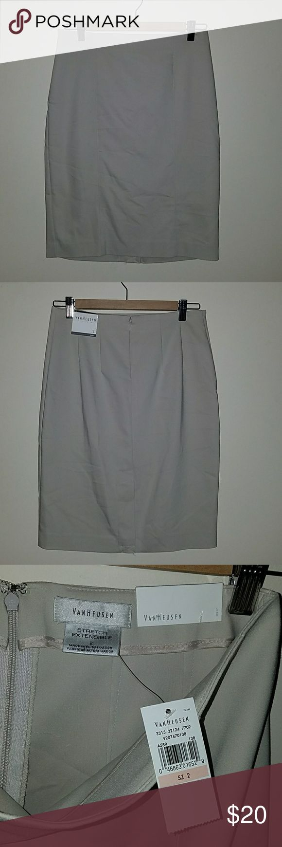 NWT Pencil Skirt Van Heusen khaki pencil skirt - new with tags! Never worn, only tried on. Love my black one I bought but never worn the khaki! Van Heusen Skirts Pencil