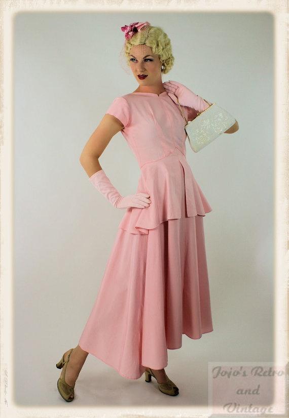 40s vintage pink peplum formal dress / by JojosRetroandVintage, $99.00