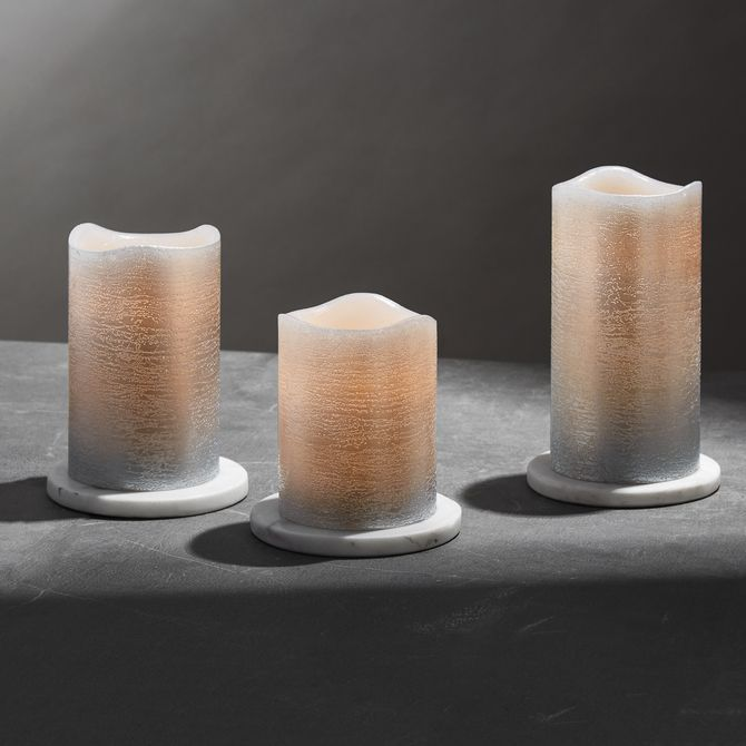 Lights.com | Flameless Candles | Pillar Candles | Silver Metallic Wax Flameless Candle with Timer and Remote, Set of 3