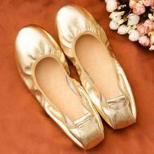 Tendance Chaussures 2017/ 2018 : Brand Quality Women Flats Genuine Leather Ballet Flats Boats Shoes Gold Silver L