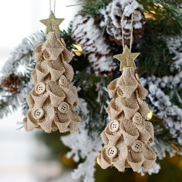 Natural Burlap Button Tree Ornaments, 6i high 3in diameter