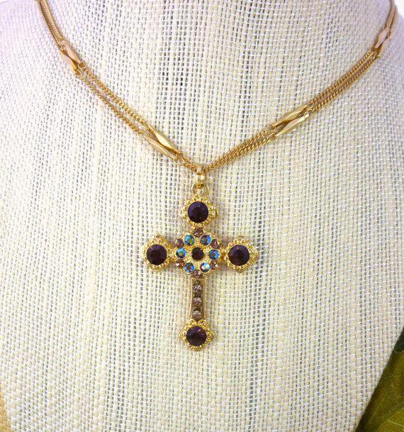 Swarovski crystal cross pendant topaz and gold by SiggyJewelry