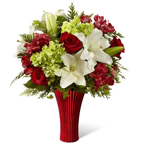 Christmas flowers delivered with cheap flowers, red roses, white lilies & green hydrangea