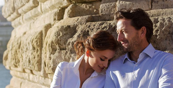Nice couple in sunshine at Budapest in YURKOV outfit. Fashion, style, soul.  White, light blue. Shirts: Yurkov by Orsolya Kovacs Photo: Zsombor Szalontai Make Up: Dora Graff Make Up Artist Hair: Oros Bogi Hairstylist