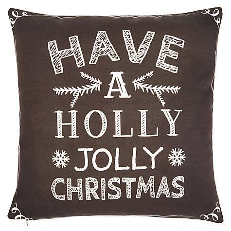 Buy John Lewis 'Have a Holly Jolly Christmas' Cushion Online at johnlewis.com