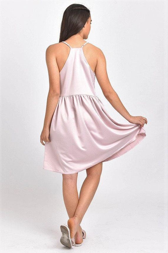 c55cbe53518 SALE Clothing Women Satin Dress Sundress Pink Satin Dress Satin Mini Dress  Formal Dress Casual Dress