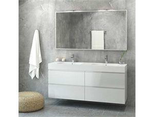 VikingBad MIE 150DBL Baderomsmøbel, hvit (Hvit høyglans) m/dobbelservant & speil