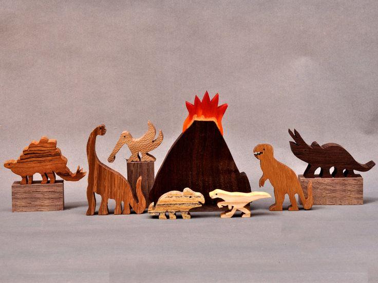 Dinosaur Animal Set Wooden Block Toys for Children Kids Toddlers Girls Boys Birthday Gift. $24.75, via Etsy.