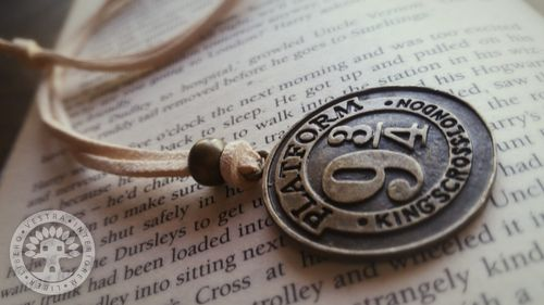 Harry Potter Platform Nine and Three Quarters Bronze and Leather Necklace by Corinne Jade