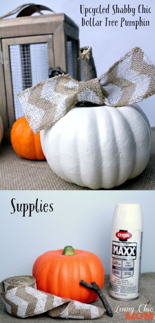 Upcycled Dollar Tree Shabby Chic Pumpkin - Living Chic Mom