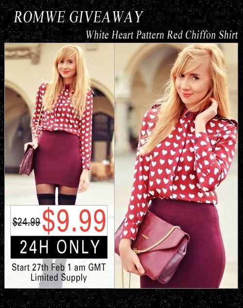 Enter to WIN this cute Heart Print Chiffon Blouse, in winners size!  CLICK TO ENTER!   Open WORLDWIDE!  #contest #giveaway #win #sweepstakes #Romwe #Mystylespot #clothing #shirt #top #blouse #shopping
