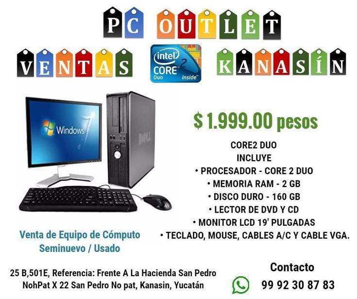 PROCESADOR - CORE 2 DUO  MEMORIA RAM - 2 GB DISCO DURO - 80 A 160 GB   LECTOR DE DVD Y CD MONITOR LCD 17'' PULGADAS TECLADO, MOUSE, CABLES A/C Y CABLE VGA