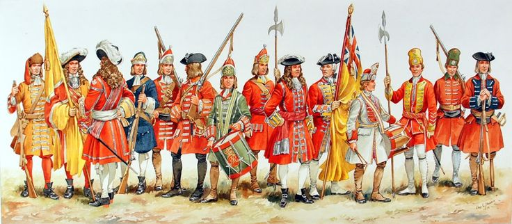 In the earliest days the wealth and status of the senior officers was reflected in the men's uniforms. The yellow coats of the Duke of York and Albany'€™s Maritime Regiment of Foot were said to be yellow because it was the Duke's favourite colour - Painting by Charles Stadden.© RM Museum/Charles Stadden