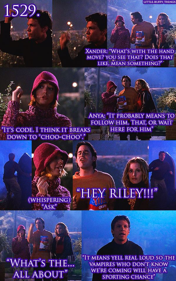 Riley's hand signals. Too funny. Buffy The Vampire Slayer.