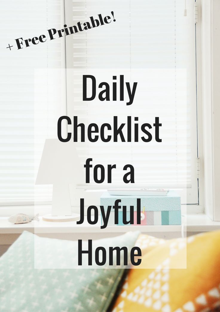 Free Daily Checklist for a Joyful Home   Created by a Christian marriage and military blogger.