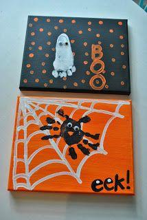 Adorable Halloween crafts for kids using handprints and footprints. Moske  Monkey Business Toddler Halloween
