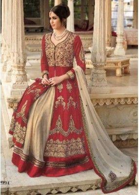 Wedding Wear Red & Cream Georgette Lehenga Suit  - 7299 C