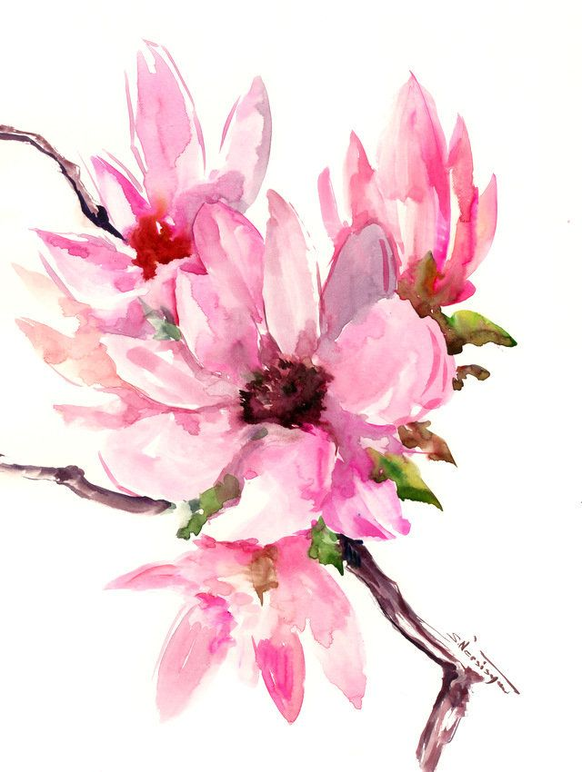 Magnolia Abstract Pink White Floral Painting Original Watercolor Painting White Pink Magnolia F Floral Painting Original Watercolor Painting Flower Painting