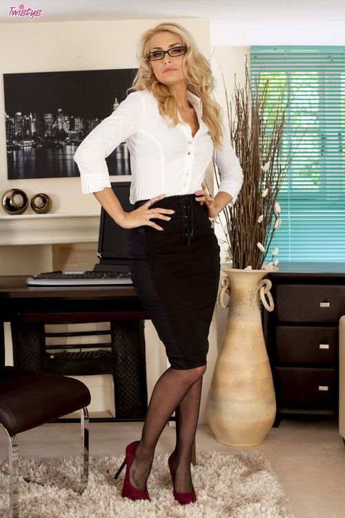 Tight Black Pencil Skirt White Blouse Sheer Black