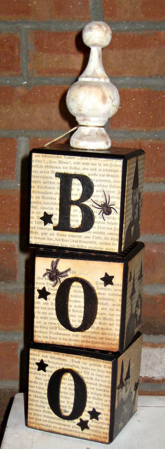 Wood finials for crafts - Altered Art Halloween Blocks With Vintage Wood Finial And Witches