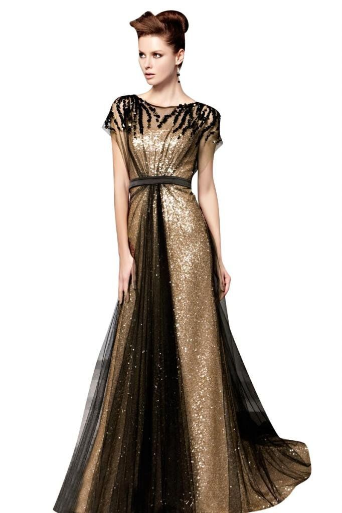 Mollybridal Women's Tulle Sequin Pleat Evening Dress With Sleeve Black Gold US4