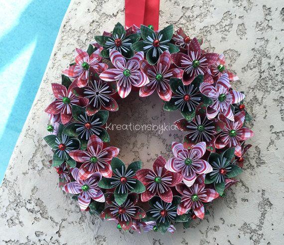 Origami papier bloem krans / de kroon van Kerstmis, de kroon van de vakantie, middelpunt, papieren bloemen, origami krans, kusudama, papier krans