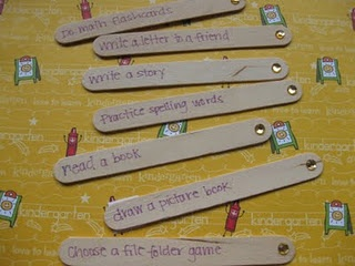 """I'm Done"" activities... I like that it's on Popsicle sticks."