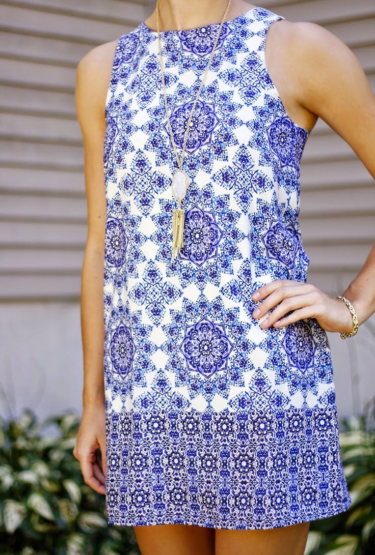 Blue and white shift dress.