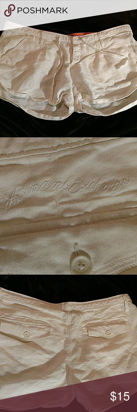 Armani Exchange shorts White linen shirts, button front closet. Button down back pocket flaps. Please see all photos for full description and details Armani Exchange Shorts