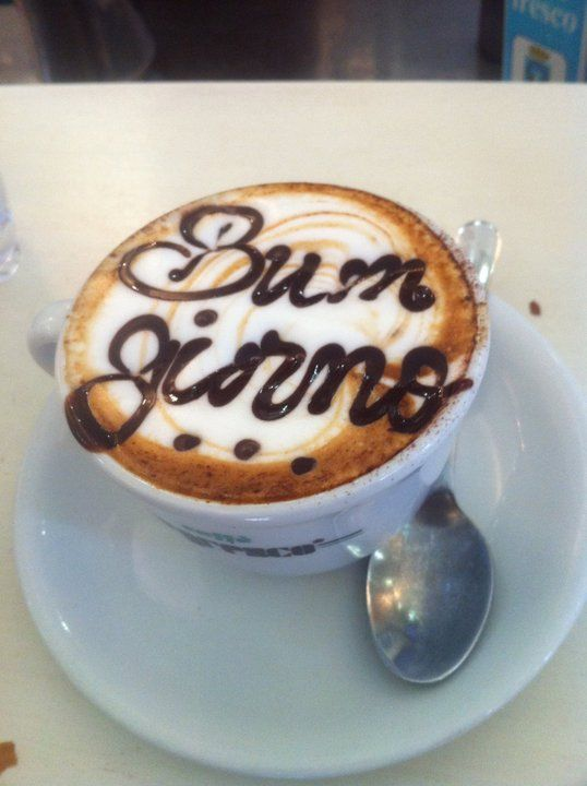 "Classic Roman cappuccino pic with ""Buon Giorno"" written in chocolate. Best way to start your morning off right! :-) Photo: Walksofitaly.com"